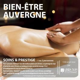 """BOX BIEN ÊTRE AUVERGNE """"Bien être Prestige"""" (1 pers : 2h45/2 pers. : 1h30)"""